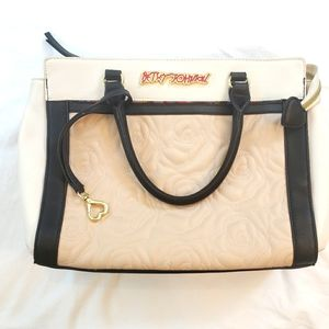 Betsey Johnson quilted tote bag black/white/cream